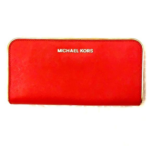 Michael Kors Handbags - Michael Kors Red and Gold wallet